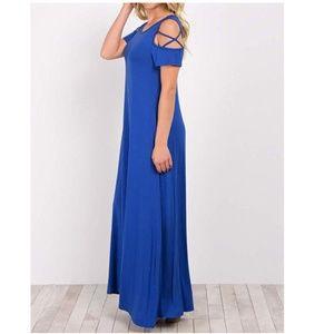 Long Dress O Neck Cold Shoulder Cross Sleeves Maxi